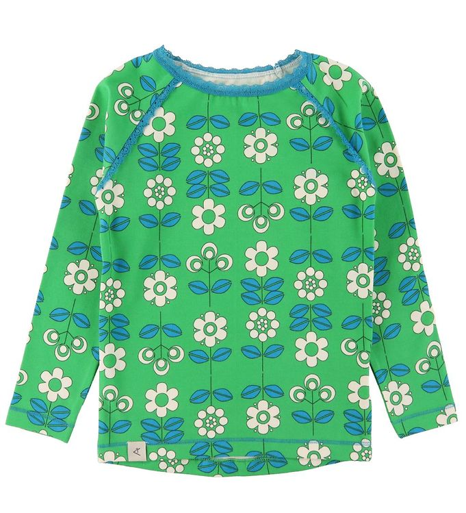 Image of AlbaBaby Bluse - Ghita - Kelly Green m. Blomster (RA231)