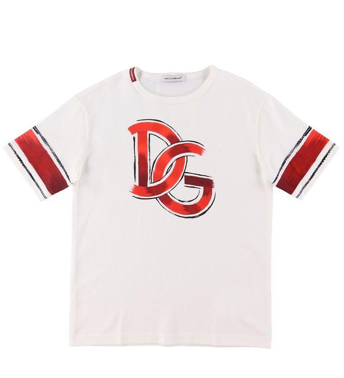 Image of Dolce & Gabbana T-shirt - Hvid m. Rød (RA339)