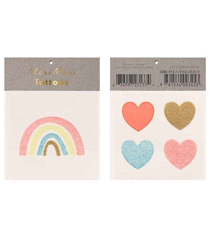 Image of Meri Meri Tatoveringer - Small - Rainbow & Hearts (RB084)