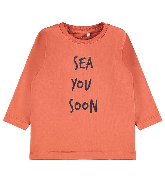 Image of Name It Bluse - NbmFomin - Apricot Brandy m. Tekst (RC006)