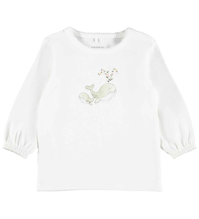 Image of Name It Bluse - NbfFenja - Bright White m. Hval (RC207)