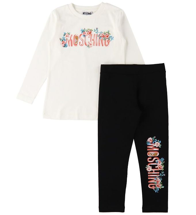 Image of Moschino Bluse/Leggings - Cloud/Sort m. Tekst/Blomster (RC295)