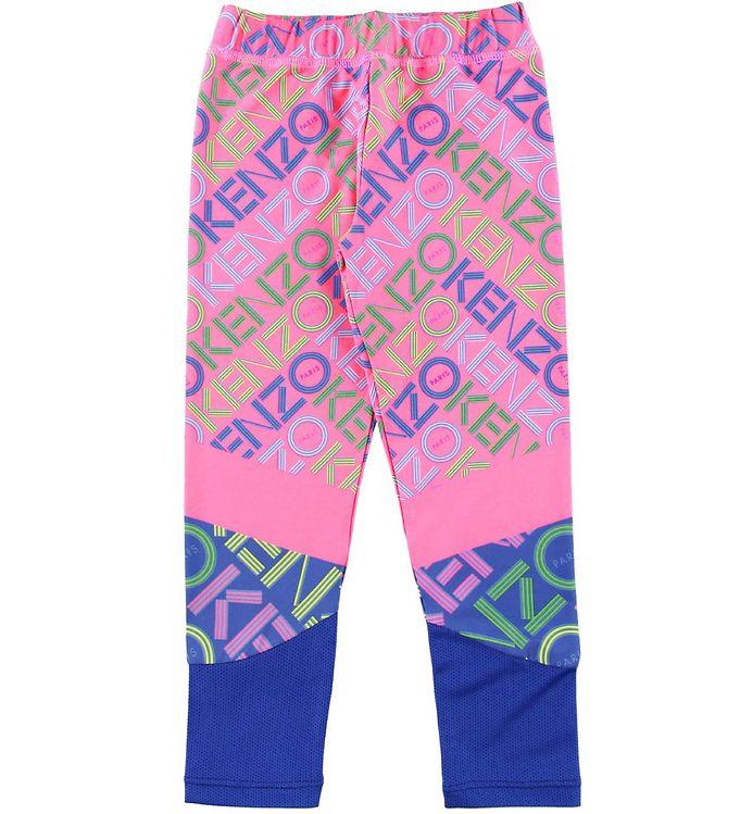 Image of   Kenzo Leggings - Exclusive Edition - Neon Pink/Blå m. Logo