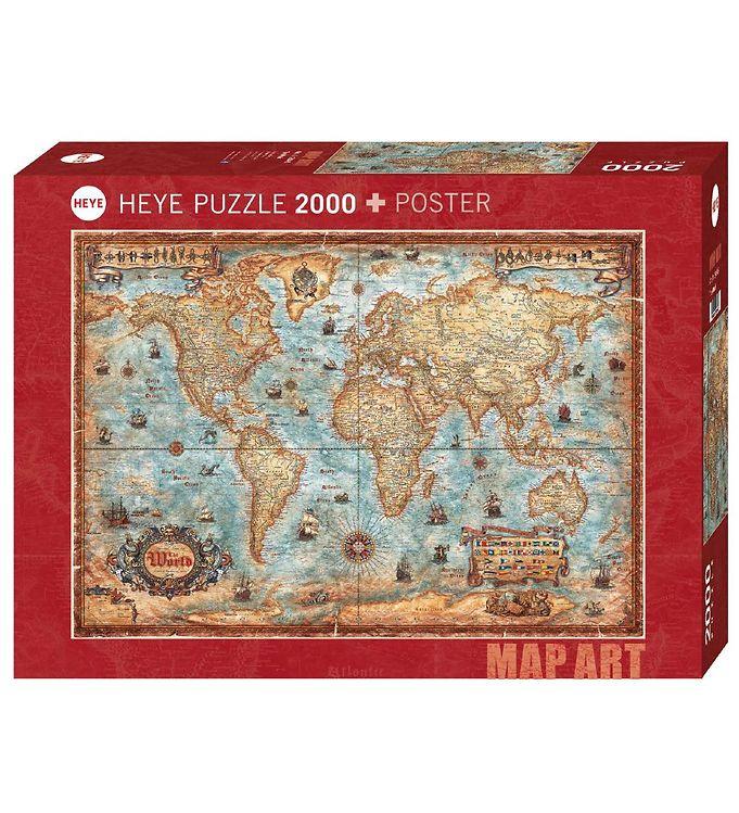 Image of Heye Puzzle Puslespil - Sømands-Verdenskort - 2000 Brikker (SA082)