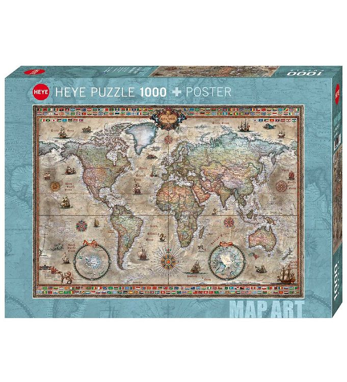 Image of Heye Puzzle Puslespil - Retro World Map - 1000 Brikker (SA083)