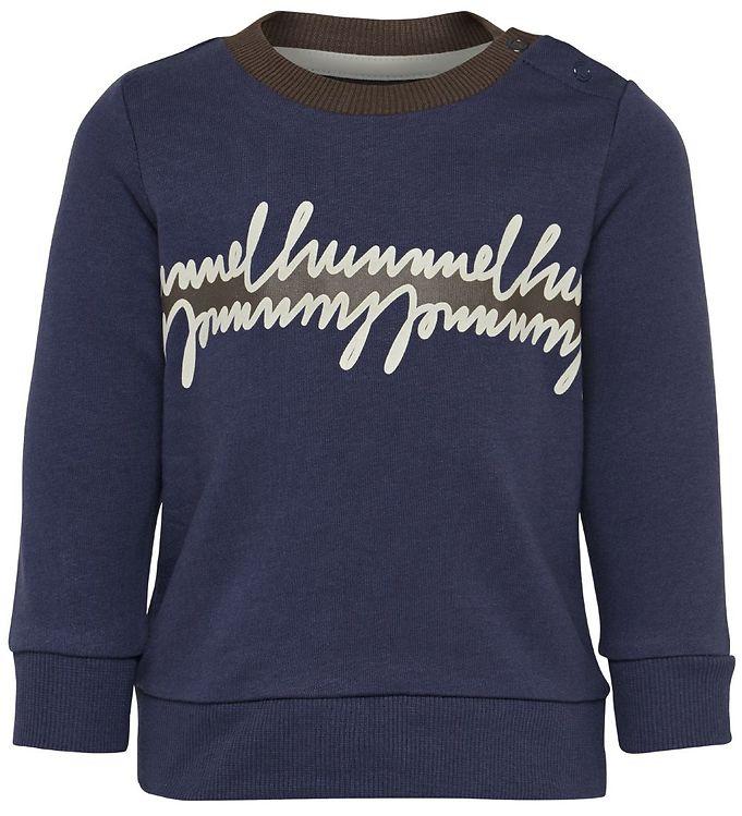 Hummel Sweatshirt - HMLJeppe - Navy m. Print - AA - Hummel,AA - Xmas vare - Hummel,Drengetøj,Hummel Bluse,Hummel Sweatshirt,Hummel Udsalg,Hummel X-Mas19 - Hummel