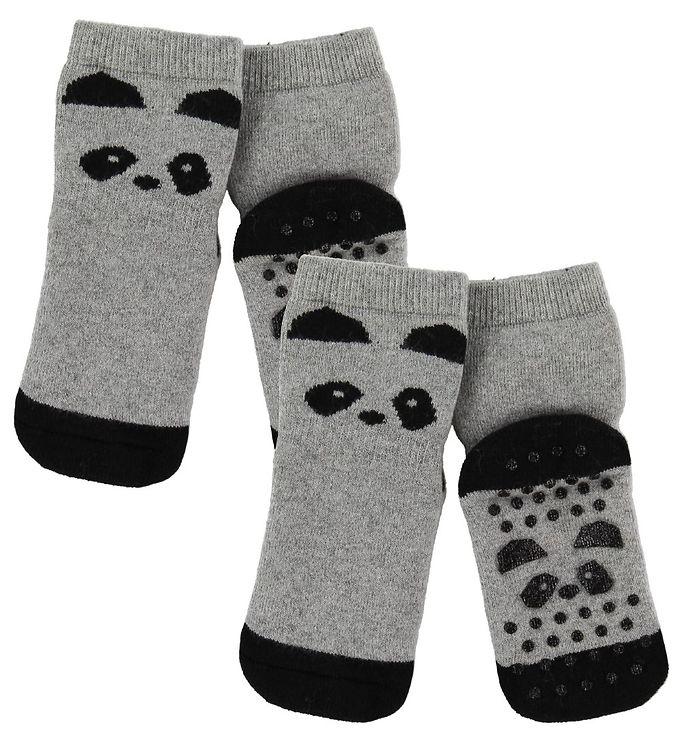 Image of Liewood Strømper - Antiskrid - 2-pak - Nellie - Panda Grey Melan (SA799)