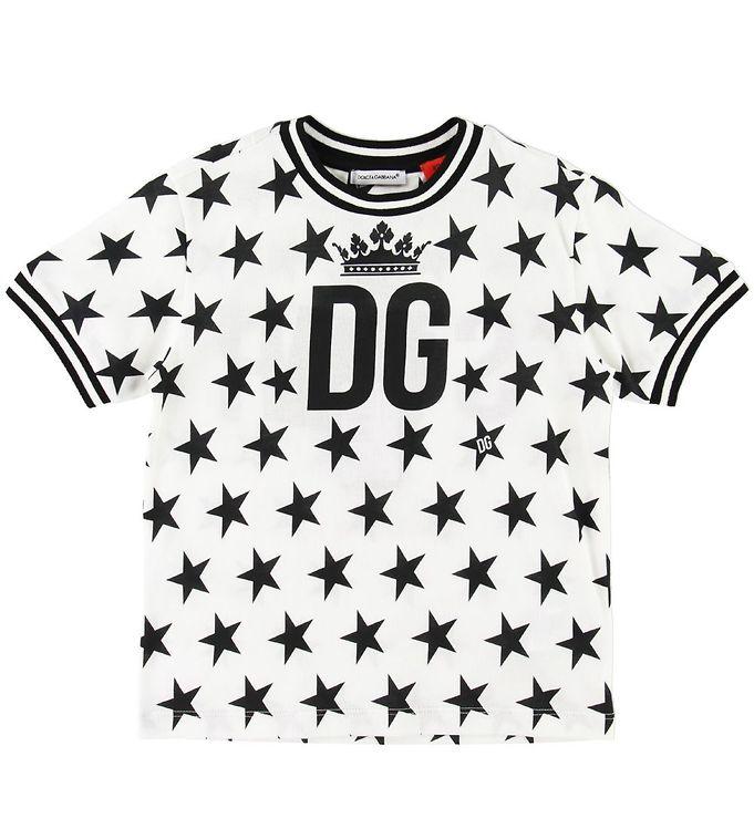Image of Dolce & Gabbana T-shirt - Hvid m. Sorte Stjerner (SC690)
