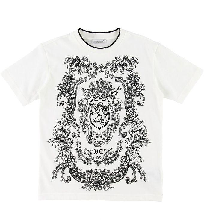 Image of Dolce & Gabbana T-shirt - Creme m. Mønster (SC699)