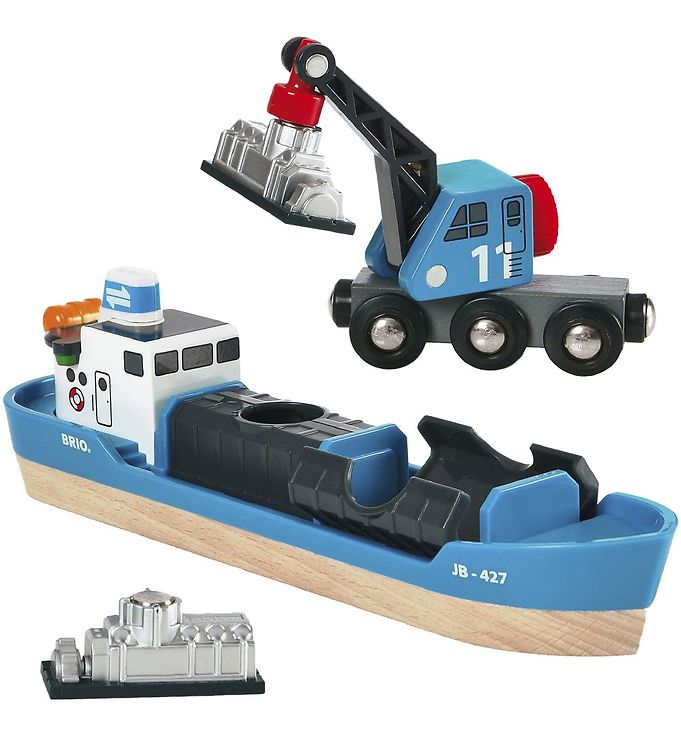 Brio World Fragtskib og Kran - Blå - BRIO,BRIO Trælegetøj - Brio