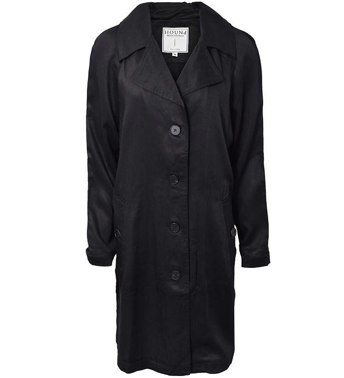Image of Hound Trenchcoat - Black (SD363)