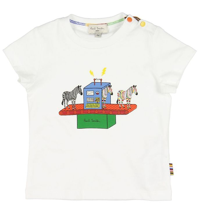 Paul Smith Baby T-shirt - Azou - Hvid m. Zebra