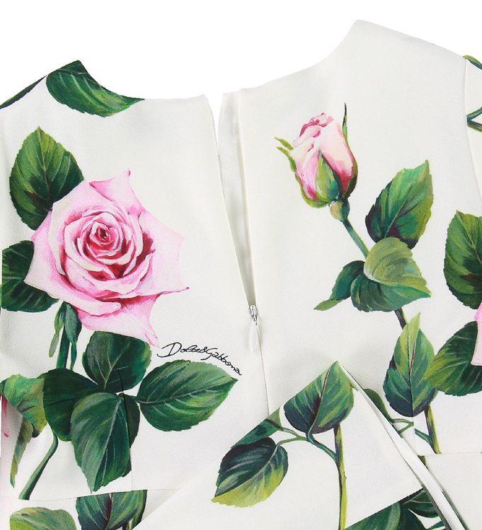 Dolce & Gabbana Kjole Creme m. Roser