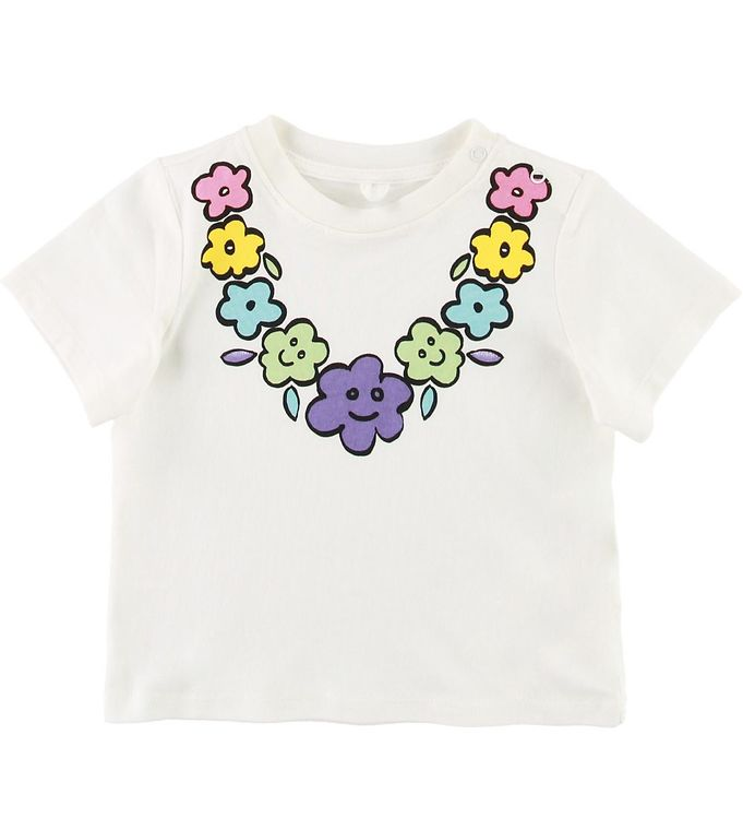 Image of Stella McCartney Kids T-shirt - Hvid m. Blomster (SE377)