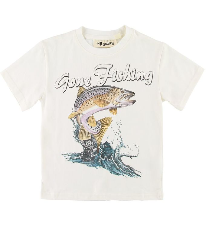 Image of Soft Gallery T-shirt - Asger - Gone Fishing - Hvid (SE860)