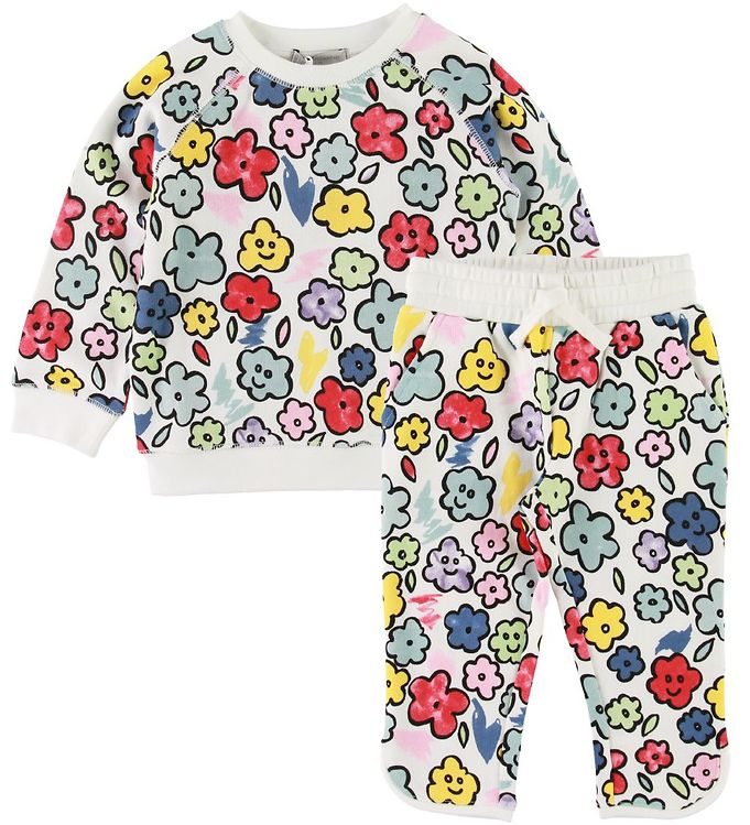 Image of Stella McCartney Kids Sweatsæt - Hvid m. Blomster (SF448)