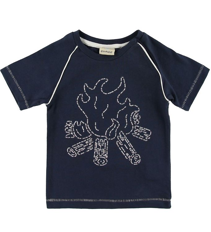 Image of En Fant T-shirt - Dark Navy m. Bål (SH813)