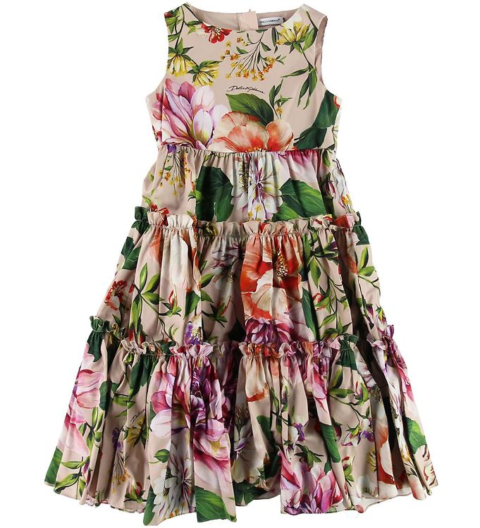 Image of Dolce & Gabbana Kjole - Blooming - Støvet Rosa m. Blomster (SI336)