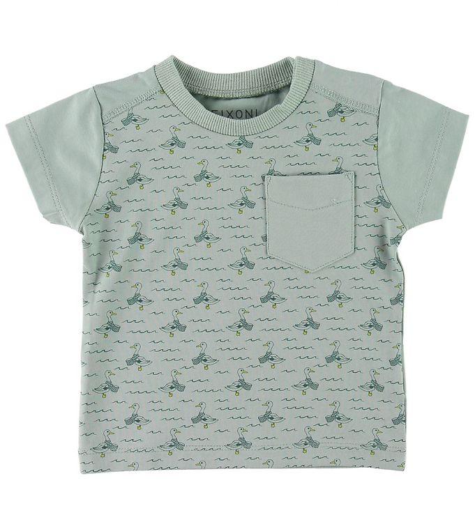 Image of Fixoni T-shirt - Støvet Grøn m. Ænder/Bølger (SJ051)