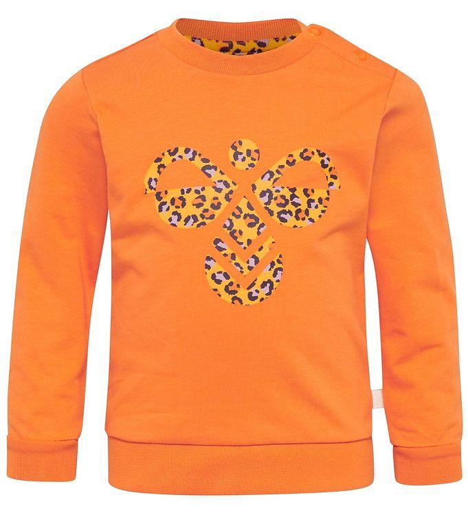 Hummel Sweatshirt - HMLLime - Orange/Leo - 0% - 6,AA - Hummel,Hummel Bluse,Hummel SS20,Hummel Sweatshirt,Hummel Udsalg,Pigetøj - Hummel