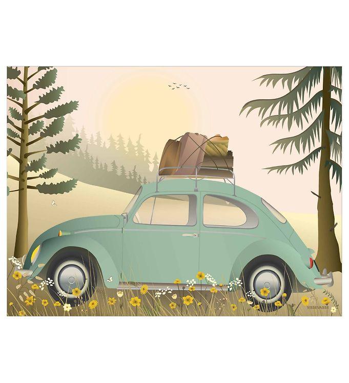 Vissevasse Plakat - 50x70 - VW Beetle Green