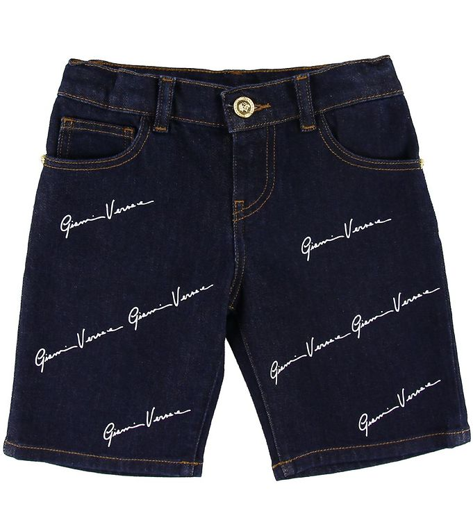 Image of Versace Shorts - Denim - Navy m. Allover Logo (SL103)