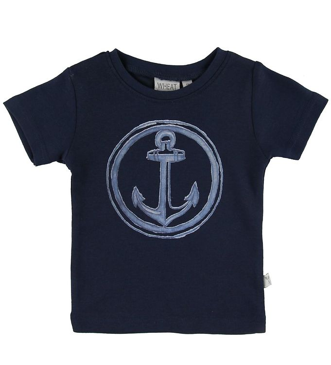 Image of Wheat T-shirt - Anchor - Navy (SN437)