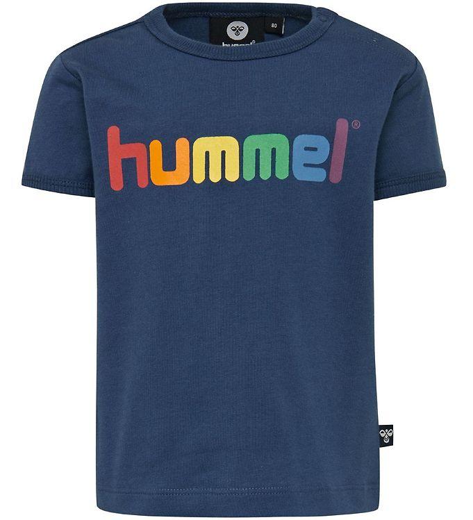 Hummel T-shirt - HMLSky - Navy m. Logo - Drengetøj,Hummel SS20,Hummel T-shirt,Pigetøj,Unisex - Hummel