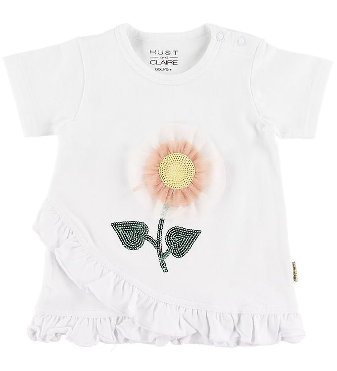 Image of Hust and Claire T-shirt - Adora - Hvid m. Blomst (SO237)