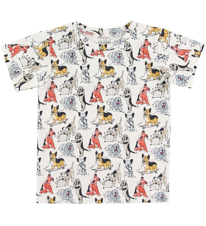 Image of Hust and Claire T-shirt - Anker - Creme m. Hunde (SO339)