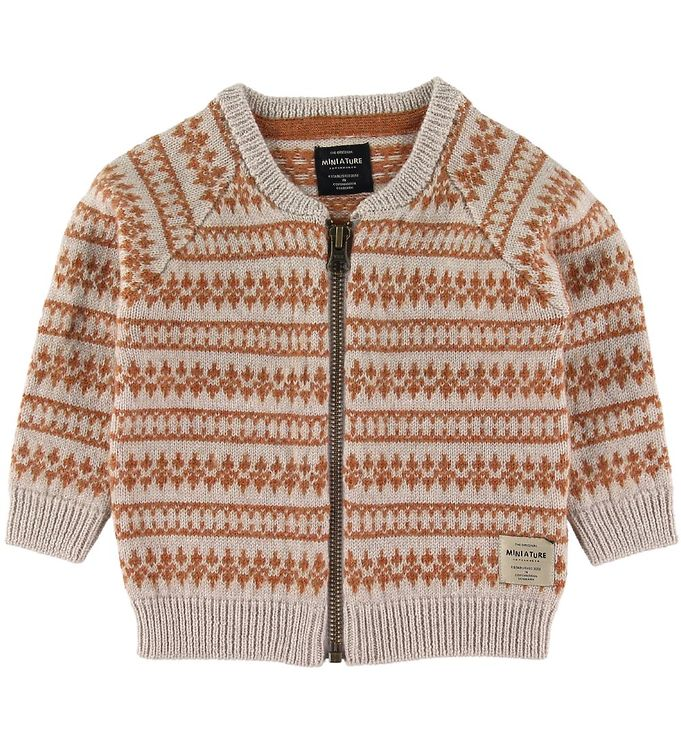 Mini A Ture Cardigan - Uld - Maximus - Lysebrun/Brændt Orange m.