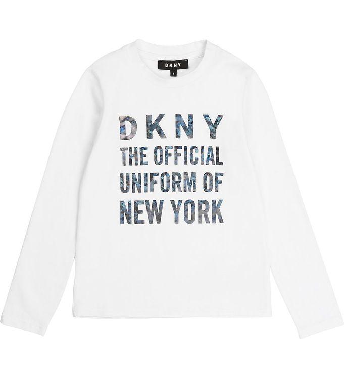 Image of DKNY Bluse - Hvid m. Tekst (ST362)