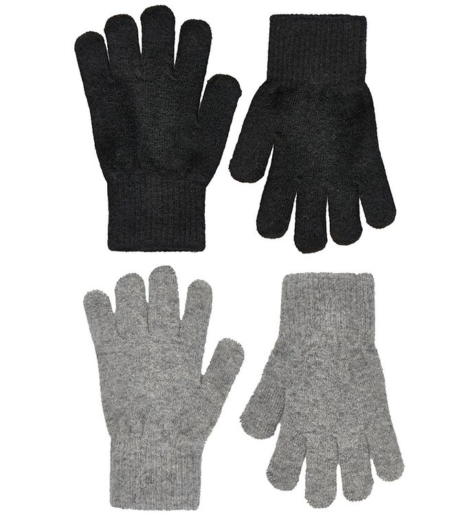 CeLaVi Handsker – Uld/Nylon – 2-pak – Sort/Gråmeleret