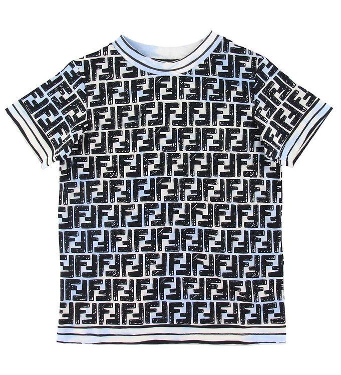 Image of Fendi T-shirt - Blå m. Logo (SV416)