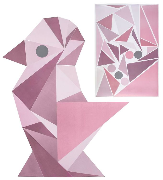 Image of Sebra Wallstickers - Rosa Geometrisk Fugl (T156)