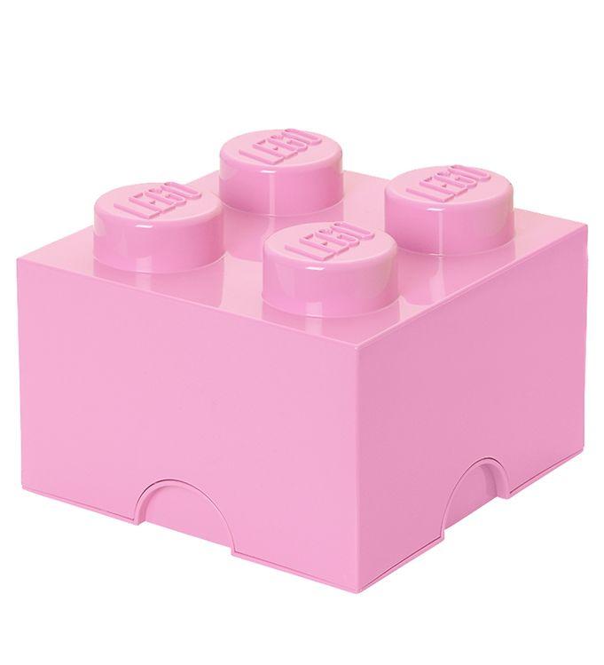 Image of Lego Storage Opbevaringsboks - 4 Knopper - 24,7 cm - Lyserød (T357)