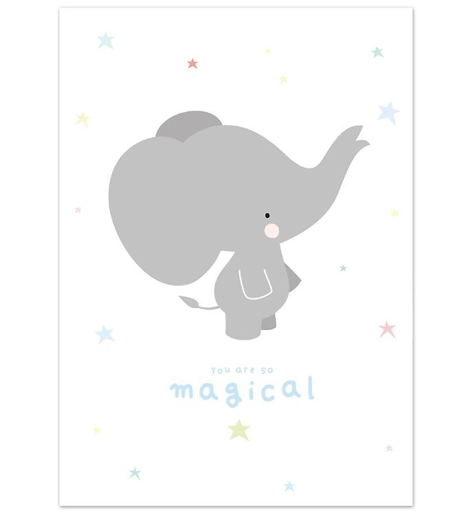 A little lovely company plakat - 50x70 - grå elefant fra a little lovely company fra kids-world