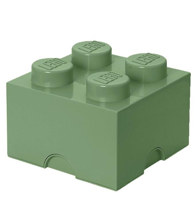 Image of Lego Storage Opbevaringsboks - 4 Knopper - 24,7 cm - Støvet Grøn (TA314)
