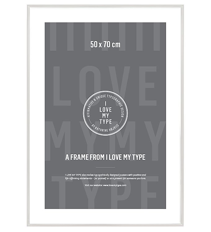 Image of I Love My Type Ramme - 50x70 - Hvid (TA897)