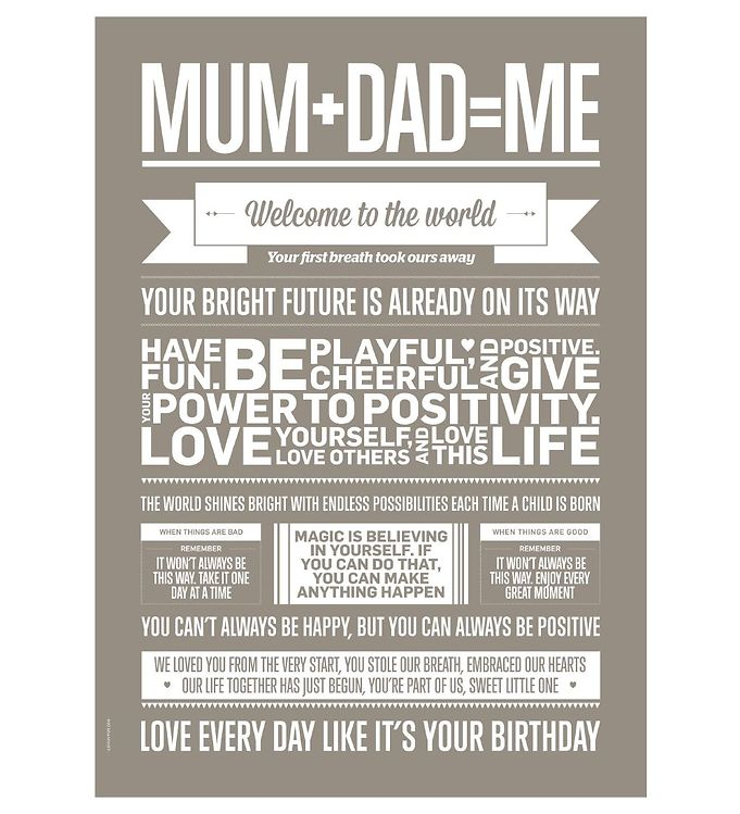 Image of I Love My Type Plakat - 50x70 - Love Typography - Mum+Dad=Me (TA903)