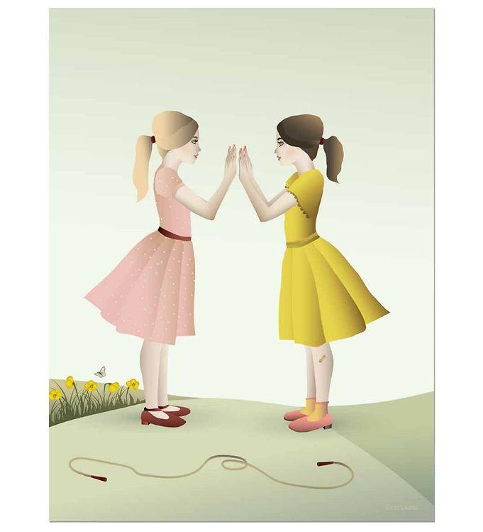 Vissevasse plakat - 50x70 cm - hand-clapping girls fra vissevasse på kids-world