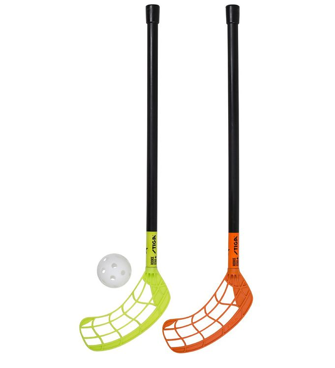 Image of Stiga Floorball Sæt - Rookie 55 Star - Orange/limegrøn (TG976)