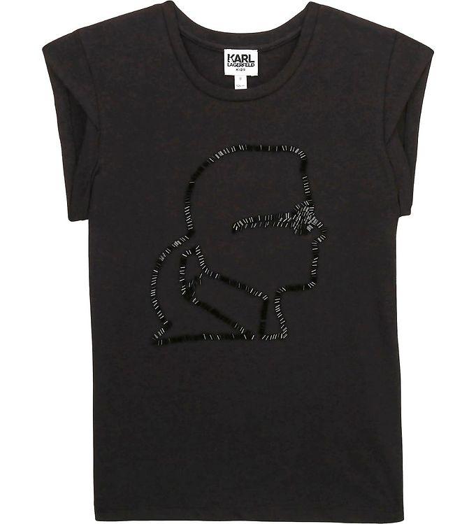 Image of Karl Lagerfeld T-shirt - Digit Aesthetic - Sort m. Pailletter (UA045)