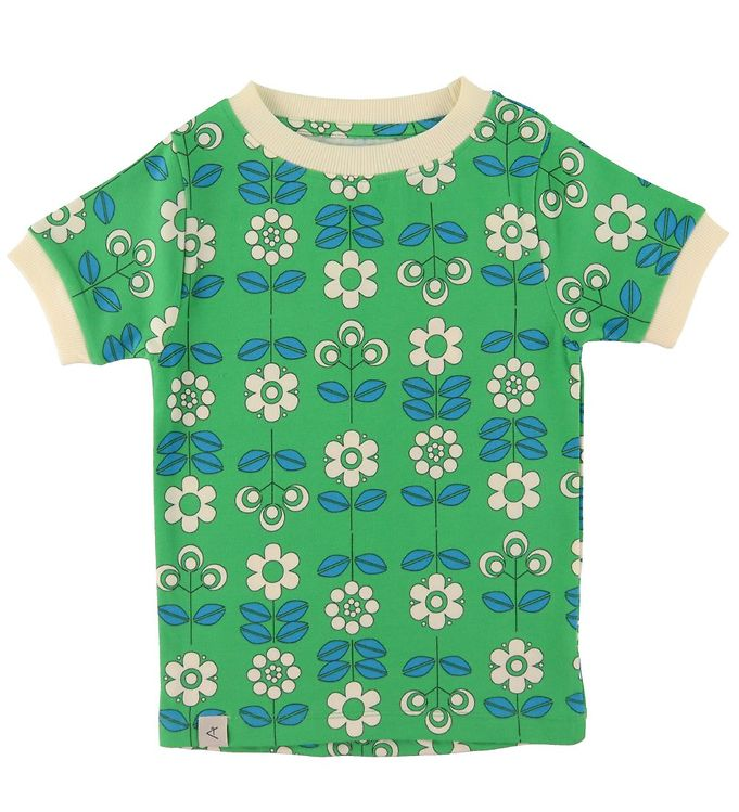 Image of AlbaBaby T-shirt - Bella - Kelly Green m. Blomster (UB447)