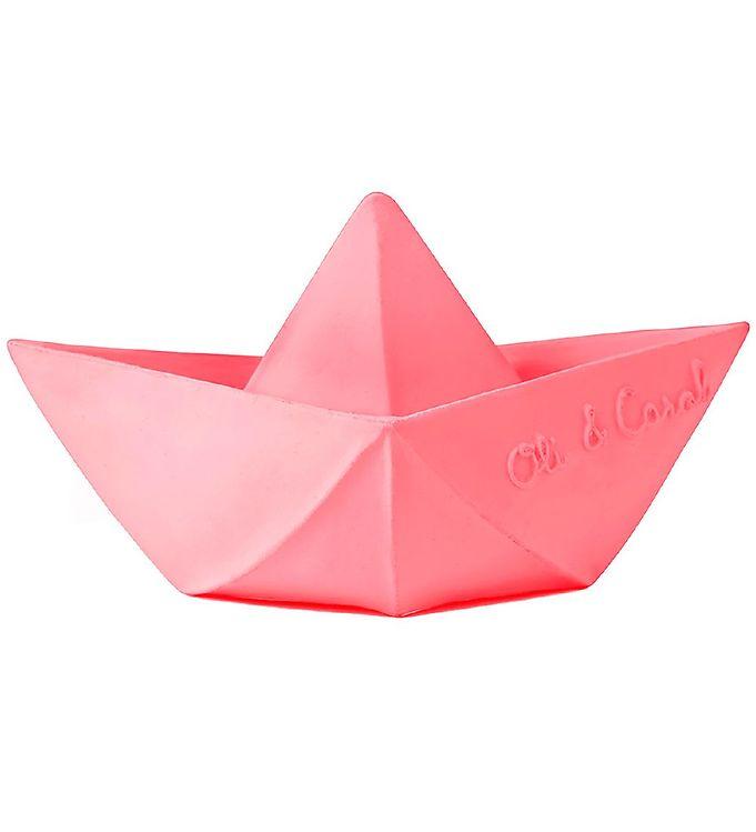 Image of Oli & Carol Badelegetøj - Naturgummi - Origami - Pink Båd (UC854)