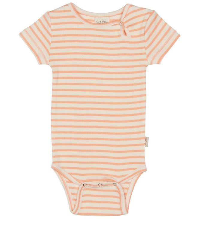Image of Petit Piao Body k/æ - Modal Striped - Peach Naught/Eggnog (UD371)