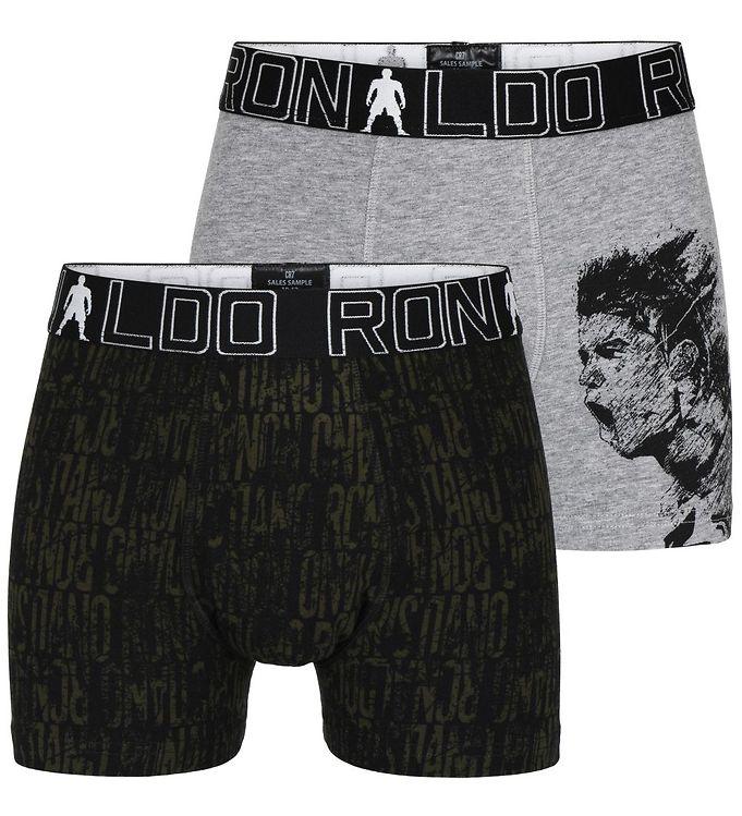 Image of Ronaldo Boxershorts - 2-pak - Gråmeleret/Sort m. Mønster (VA243)