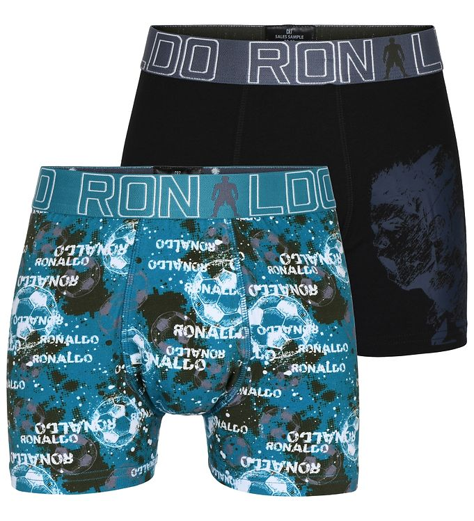Image of Ronaldo Boxershorts - 2-pak - Sort/Blå m. Print (VA247)