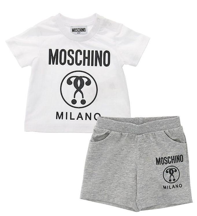 Image of Moschino Sæt - T-shirt/Shorts - Hvid/Gråmeleret (VB189)