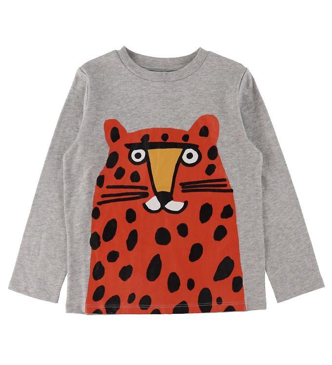 Image of Stella McCartney Kids Bluse - Gråmeleret m. Rød/Leopard (VB781)